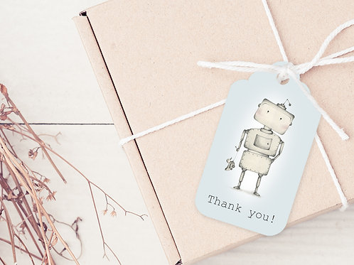 GIFT TAGS --- Robot Party Thank you's (pkt 30)
