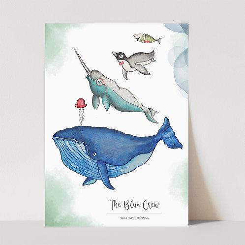 UNFRAMED --- The Blue Crew   Art Print