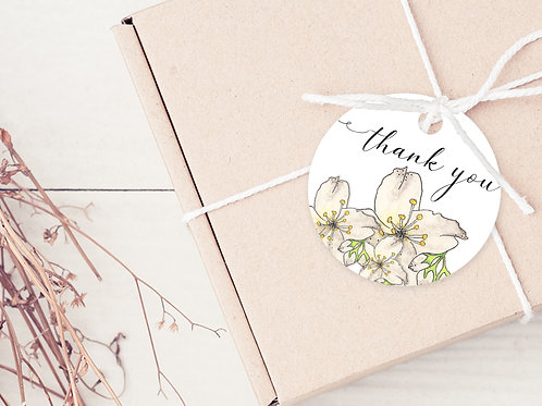GIFT TAGS --- Floral Party Thank you's (pkt 30)