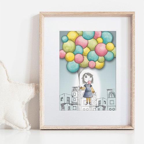 FRAMED or UNFRAMED --- Bubble Balloon Wonder