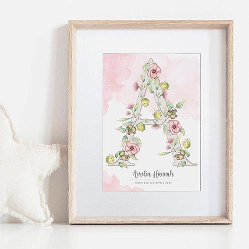 FRAMED --- H, I, J, K...ELLAMANO...Sweet P's Art Print