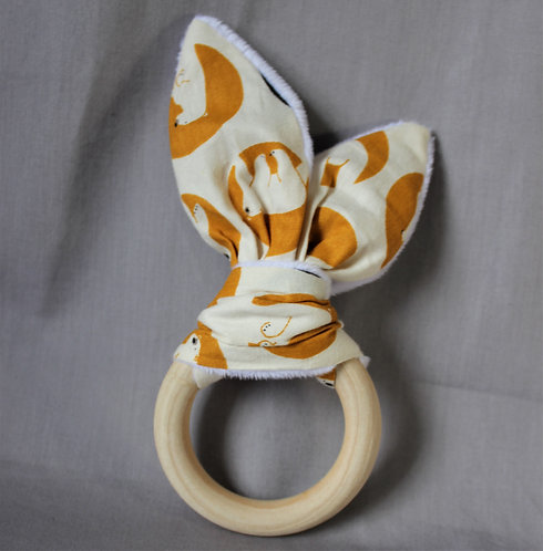 Bear Fabric Teether Ring