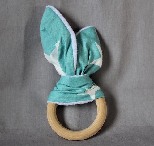 Turquoise Star Fabric Teether Ring