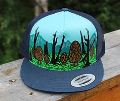 Alaska Morel Mushrooms Hand-painted Hat