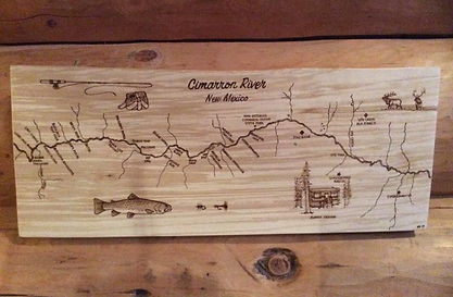Custom Woodburned Wall Art of the Cimarron River in New Mexico