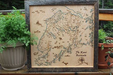 The Kenai Peninsula Woodburned Wall Art