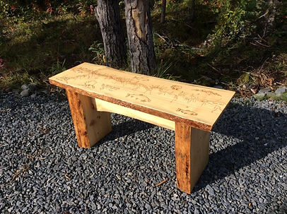 Uppe Kenai River Woodburned Bench