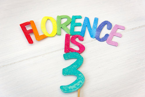 Rainbow cake topper banner Any name any age