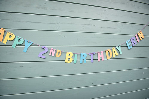 Pastel Rainbow Birthday Bunting