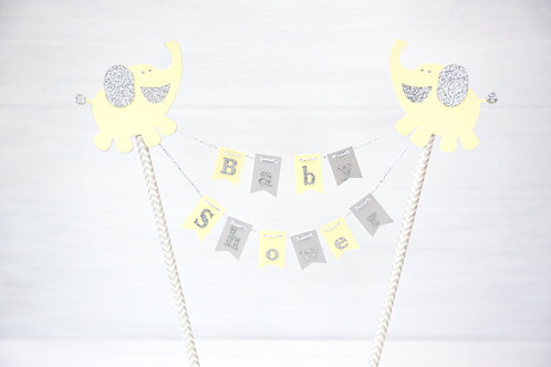 Baby Elephants baby shower bunting cake topper