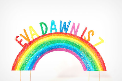 Hand coloured enamelled glitter rainbow cake topper