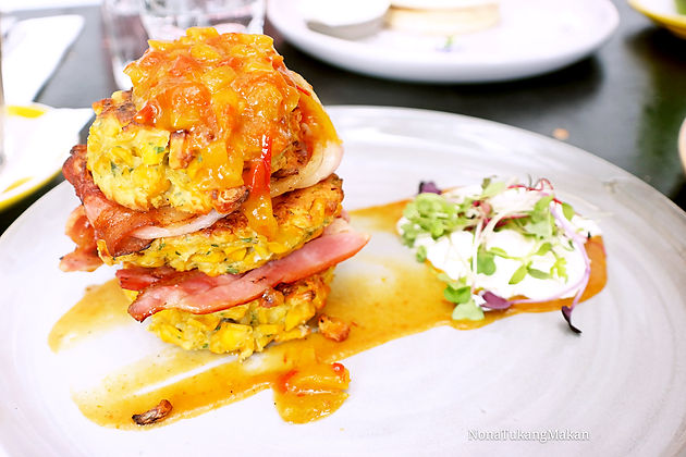 Corn Fritter w/ Bacon 3