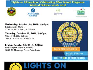 Lights on After-school: Celebrating After School Programs! | October 24, 25 & 26th