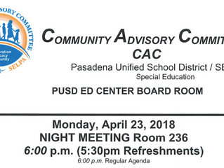 For PUSD Families - Community Advisory Committee Meeting | April 23