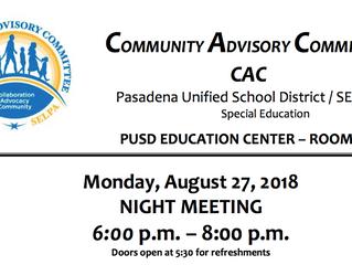 Community Advisory Committee | Monday, August 27
