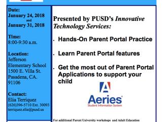 Parent Portal Workshops at Jefferson | January 24 & 31