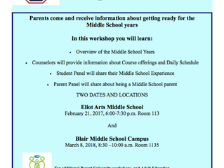 Getting Ready for the Middle School Years | February 21 & March 8