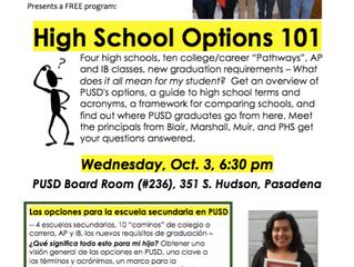 High School Options 101 | Wednesday, October 3, 2018