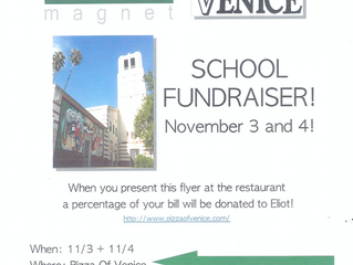 Support Eliot Arts Magnet at Pizza of Venice! | November 3 & 4