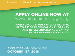 The Hispanic Heritage Foundation's Youth Awards program is now accepting applications!