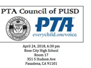 PTA Council Meeting | April 24