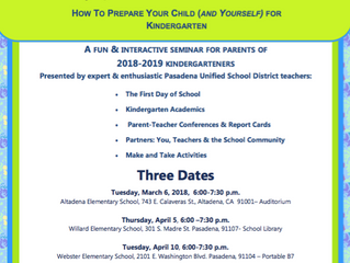 Ready, Set, Kindergarten! | March 6, April 5, April 10