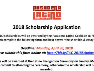 Pasadena Latino Coalition | 2018 Scholarship Application