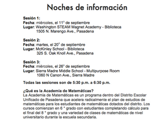 Math Academy Information Nights | 5:30 - 6:30 p.m.