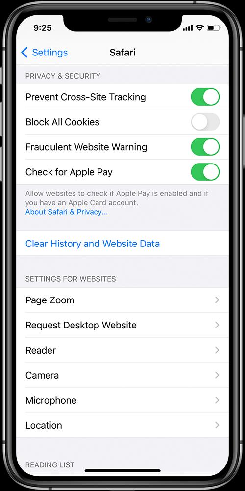 Clear Safari Cookies and Data on iPhone or iPad