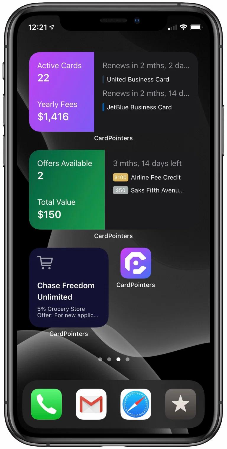 Card Pointers iOS 14 Widget Design