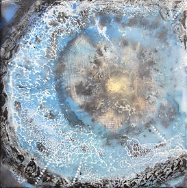 abstract cosmic encaustic wax painting. one black circle and webbing. black, white, blue and teal