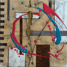 abstract textural encaustic wax painting with lines, boxes, and texture. bronze, silver, black, white, pink and teal