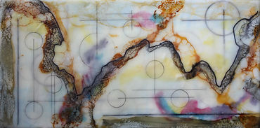 abstract textural encaustic wax painting with black circles and gold webbing. black, white, pink, purple and teal