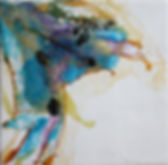 Right painting of pair. Abstract representation of wings in wax. gold, black, purple and teal.