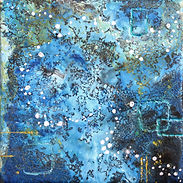 abstract cosmic encaustic wax painting. one black circle and webbing. black, white, blue, teal, and hint of yellow