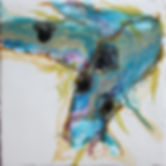 Left painting of pair. Abstract representation of wings in wax. gold, black, purple and teal.