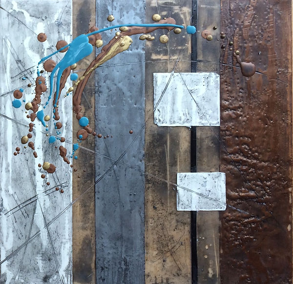 abstract textural encaustic wax painting with lines, boxes, and texture. bronze, silver, black, white and teal