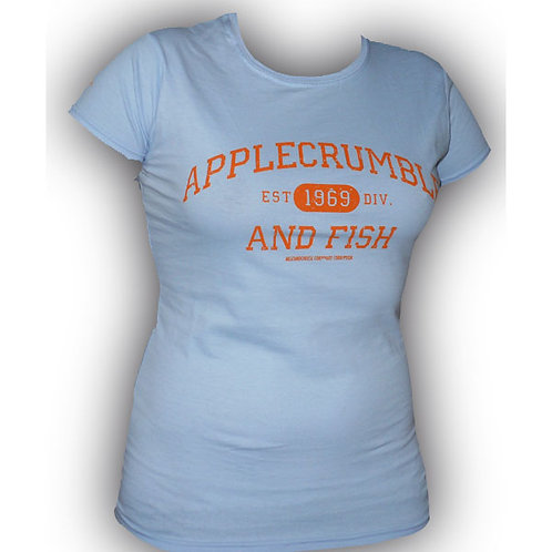 Applecrumble and Fish Girls T Shirt Light Blue