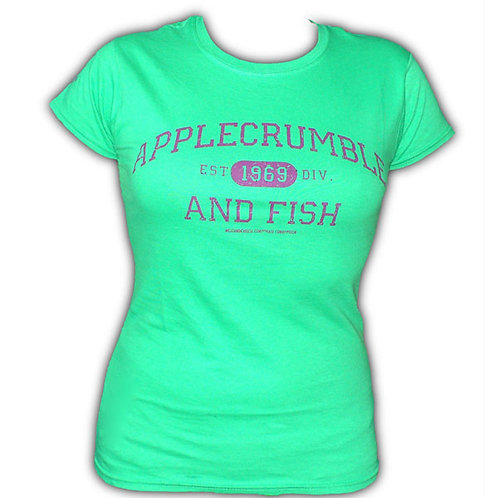 Applecrumble and Fish Girls T Shirt Kelly Green