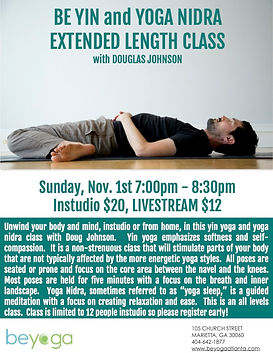 Yin and yoga nidra extended class flyer.