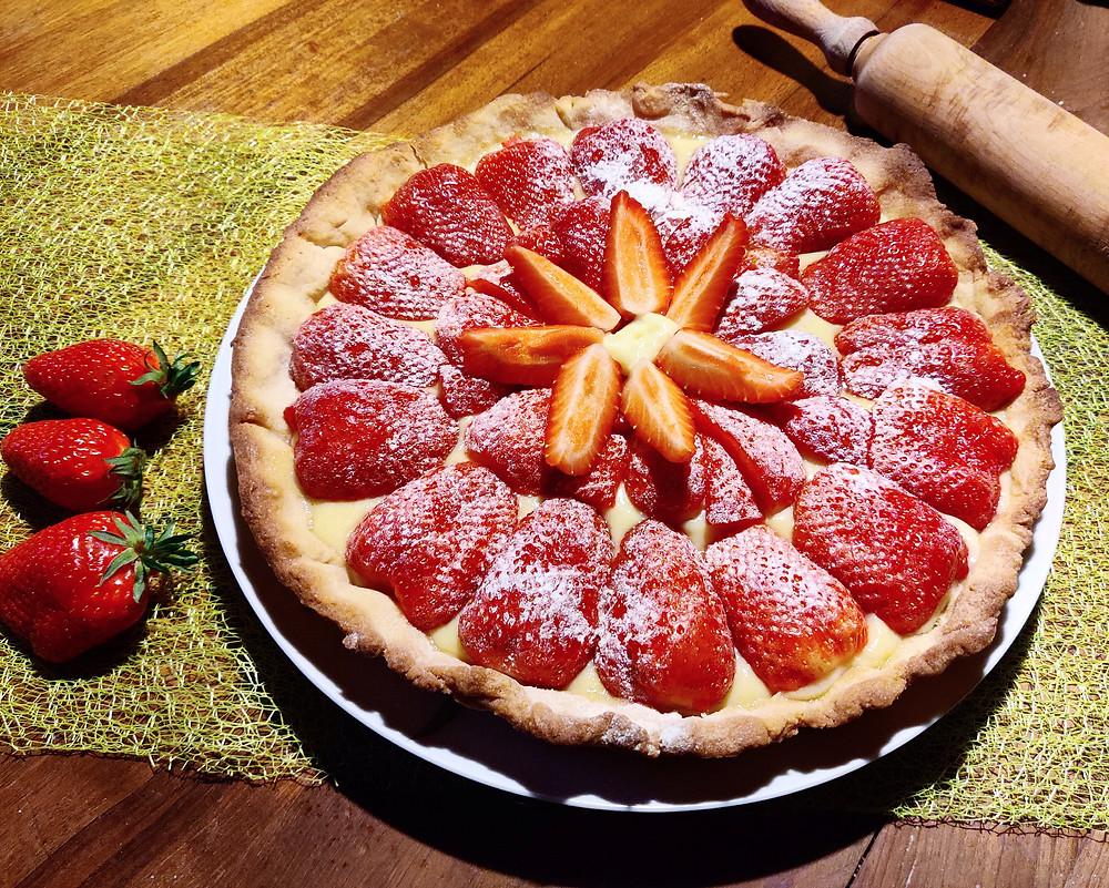 Photo d'une tarte aux fraises maison Diaita
