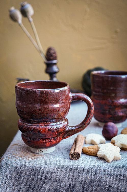 Tea or Coffee Wobble Cup in Rust - Handle or Handleless