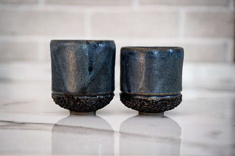 Set of Two Hand-Carved Cups