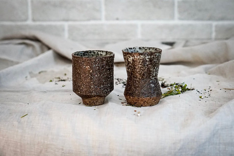 Set of Two Geometric Cups