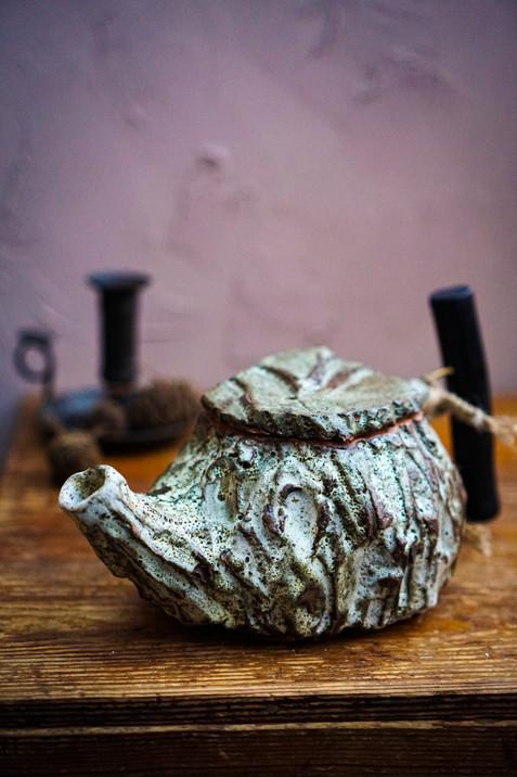 Moss green teapot