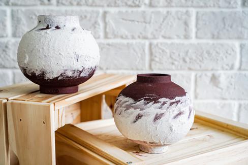 Set of Two Moon Jars