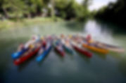 Group photos of kids in canoes