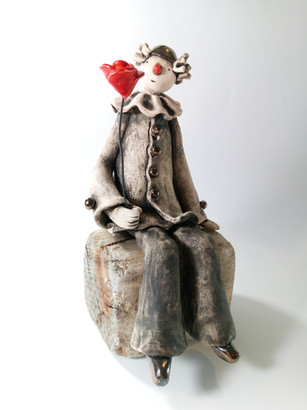 Pierrot Clown with Red Rose