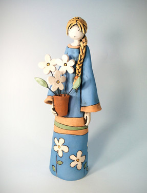 Blue Girl with Daisies