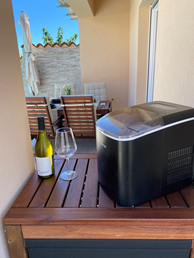 Ice maker and pleasantly chilled drink...